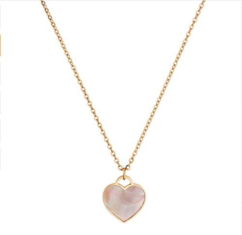 HOKULANI- Echt Muschel Herz Halskette Edelstahl (Rose gold)