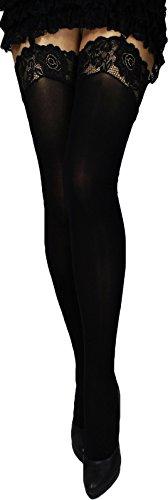 Markenlos Strapsstrümpfe mit farbigen Spitzen dicke 60 den wärmere Strümpfe Strapse Herbst Winter (M, schwarz)