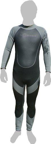 Soles Up Front - Muta da sub, 3 mm, intera, da uomo, varie misure,   per surfing, canoa o kayak, Nero/grigio (nero/grigio), 13-14 anni