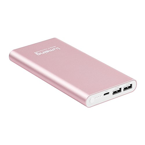 Lumsing-Power-Bank-12000mAh-Caricabatterie-Portatile-Lightning-Input-e-USB-Output-Batteria-Esterna-Compatibile-Ultra-Sottile-per-iPhone-Samsung-Galaxy-Smartphone-Cellulare-Tablet-Oro-Rosa