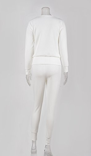 Donna Tuta Da Ginnastica 2 Pezzi Felpa Manica Lunga Rotondo Collo E Lungo Pantaloni Sportiva Autunno Inverno Sportiva Casual Jogging Pants Pullover Sweat Shirts Bianco