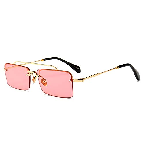 DSDASRCV Tiny sunglasses rimless menaccessories women gift metal half frame retro sun glasses rectangle brown black