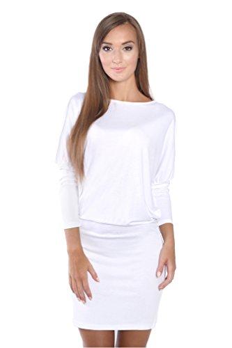 Damen Shirt Top Oberteil Kleid Dress Longshirt Minikleid mit Fledermausärmel,, Gr. XS S M L XL 2XL 3XL Ecru 2XL/3XL 44/46