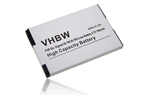 vhbw Li-Ion Batteria 700mAh (3.7V) per Telefono fisso cordless Siemens Gigaset SL4professional, Unify OpenStage SL4come 4250366817255.