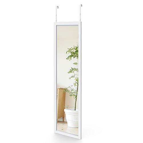 Dripex Wandspiegel 33x119cm Spiegel unbrechbarer Garderobenspiegel Flurspiegel höhenverstellbarer Hängespiegel mit Haken (Weiß-119cm)