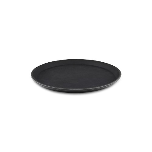 Tuffgrip Super Kunststoff rutschfeste Gummierte Anti-Rutsch, rutschfeste Lebensmittel Tablett, rund, 27,9cm/27cm Durchmesser, Schwarz