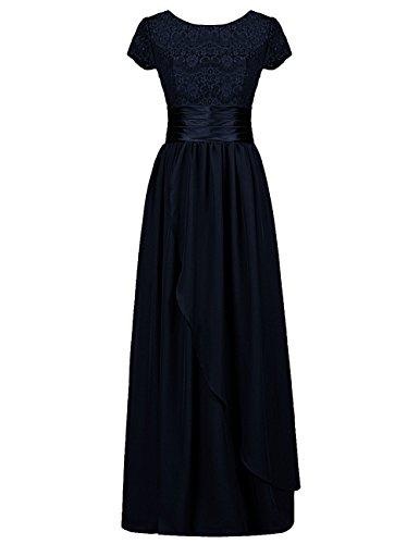 Dresstells, Robe de soirée Robe de cérémonie Robe de gala mousseline dentelle ceinture en satin col rond manches courtes Marine
