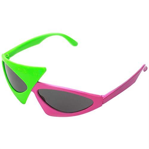 JVSISM Hip-Hop Stil Asymmetrische Dreieckige Sonnenbrille Neuheit Grün Rosa Kontrast Farbe Gl?Ser Partei Liefert Dekoration