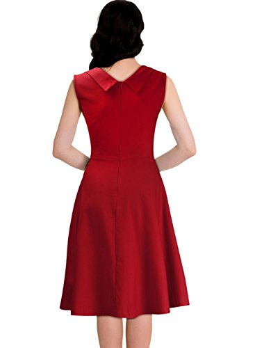 Miusol Ärmellos Sommerkleid 50er Jahre Retro Cocktailkleid Petticoat Kleid - 3