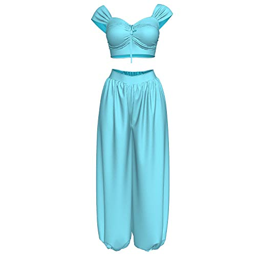 Wellgift Prinzessin Jasmin Kostüm Cosplay Mutter-Tochter Blau Anzug für Damen Tanzen Top mit Hose Outfit Halloween Fancy Dress Kleid Costume Erwachsene - Jasmin Kostüm Hose