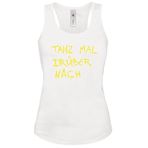 Tank-Top TANZ MAL DRÜBER NACH Lustiges Partyshirt Damen Weiss-Neongelb