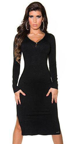 Elegantes KouCla Strickkleid mit XL Zip - Figurbetontes Kleid mit V-Ausschnitt (Schwarz)