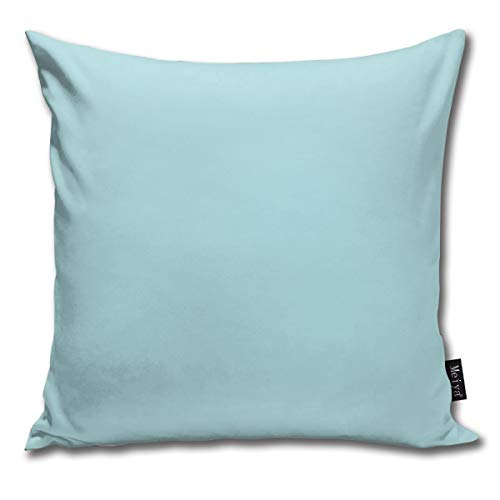 popluck Decorative Pillow Cover Powder Blue Solid Color Square Home Decor Pillowcase 18x18 Inches -