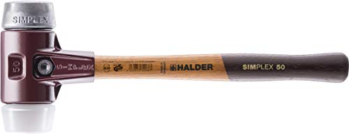 Halder 3079.040 SIMPLEX-Schonhammer mit Stahlgussgehäuse und Holzstiel, Ø 40, Superplastik/Weichmetall