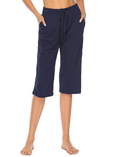 Vlazom Damen Schlafanzughose 100% Baumwolle Pyjamahose Nachtwäsche Kurz Freizeit Hose mit Taschen und Kordelzug