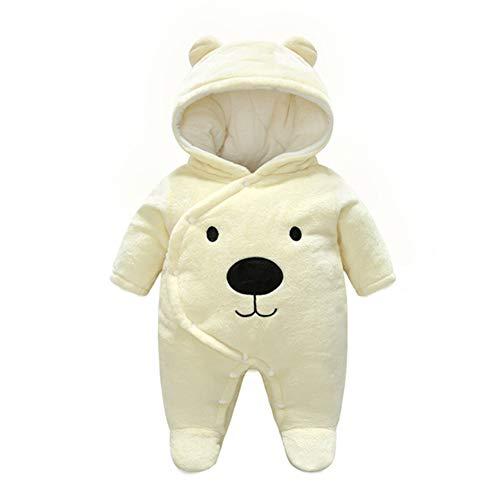 Baby Strampelanzug mit Füssen, Mütze für Jungen und Mädchen, mit Kapuze, für 0-12 Monate, Halloween, Cosplay-Kostüm, bär, 59 cm (Herren Bär Halloween Kostüm)