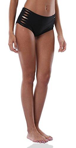 ALove Damen Badeshorts Bikinihose / Bikinislip Schnüren Höschen High Waist Sunset Schwarz