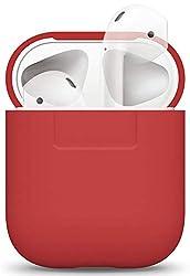 elago Silikonhülle Kompatibel mit Apple AirPods 1 & 2 (LED an der Frontseite Nicht Sichtbar) - [Unterstützt kabelloses Laden] [Stoßfeste Schutzhülle] [Perfekt Passt Hülle] - Rot