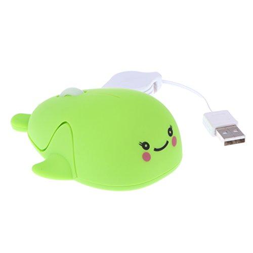 magideal Einziehbares USB-optische Maus mit Scrollrad für PC Notebook K grün -