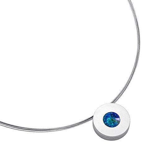 Heideman Halskette Damen Lumen aus Edelstahl Silber farbend matt Kette für Frauen mit Swarovski Stein Kristall Aurore boreale Opal im Fantasie Edelsteinschliff 10mm