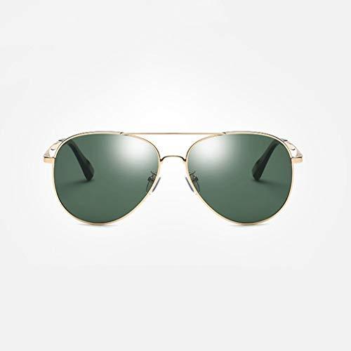 Sonnenbrille Männer 's Neue Polarisator Klassische Fahrsport Outdoor-Reise-Shopping-Brille (Farbe: Gold Frame grüne Linse)