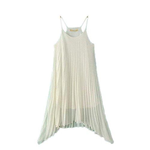 Bigood Robe de Bal Femme Mousseline de Soie Plissée Col Rond Sans Manche Blanc
