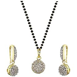 KAAYRA American Diamond Gold Plated Pendant Set with Chain and Earrings for Women
