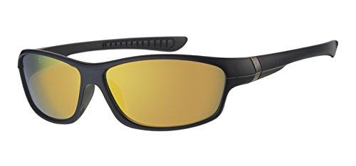 Kinder/Kinder, 5-9Jahre alt, und Schwarz um Rahmen Sonnenbrille, Rot & Gelb verspiegelt Objektiv