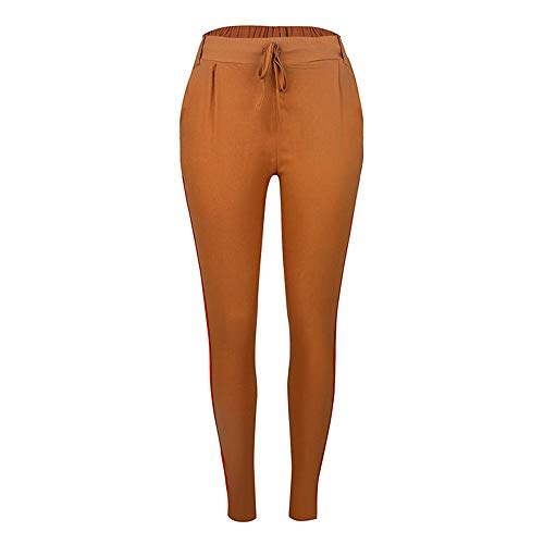 Vogue New Yoga Pantshigh Waist Women Fitness Sport Pants Drawstring Striped Yoga Tight Sports Leggings Breathable Gym Running Workout Trousers,Brown,S Drawstring-gaze Hosen