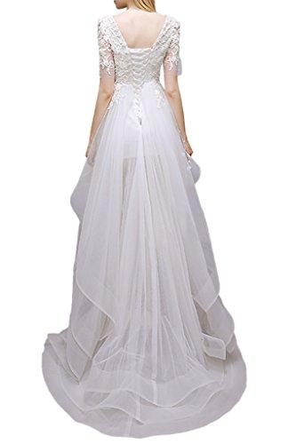 Promgirl House Damen Chic Hi-Lo A Linie Abendkleider Brautkleider Hochzeitskleider Spitze mit Aermel Blaugruen