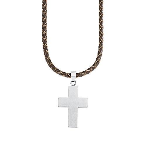 s.Oliver Kinder-Kette Teenager Jungen 43+2 cm verstellbar mit Kreuz-Anhänger Edelstahl Leder geflochten braun