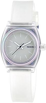 Nixon Small Time Teller P - Reloj de cuarzo para mujer, correa de plástico, color translucent