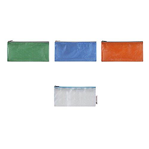 Frcolor 4pcs Zipper File Bags Sac en caoutchouc pour sachet étanche pour produits cosmétiques