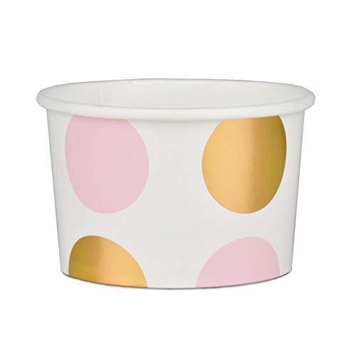 Simplydeko Pappbecher | Candy Bar Snack Cups | Schalen für EIS oder Fingerfood | für Party, Hochzeit, Kindergeburtstag (Metallic Rosa)