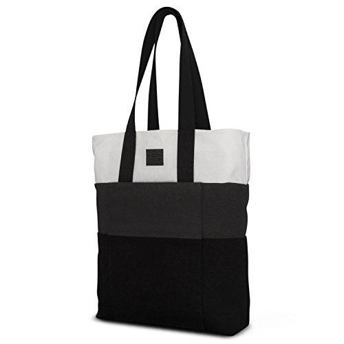 Einkaufstasche Shopper Damen & Herren Grau - Johnny Urban Zoe Shopping Bag Einkaufsbeutel Tasche Faltbar - Wiederverwendbarer Stoffbeutel - Stylische Tragetasche aus Baumwolle mit Extrafach