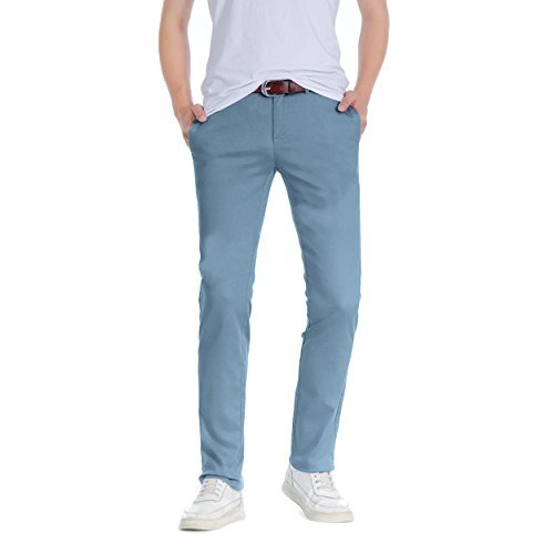 Herren Robelli Slim gerader Schnitt 100% Baumwolle Designer Chino Hose Stahlblau