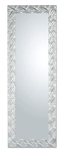 Specchio da Parete o da appoggio con Cornice Rettangolare in Legno Misura Esterna 50X145 cm, Sia in Verticale Che in Orizzontale. Finitura Argento. Made in Italy.