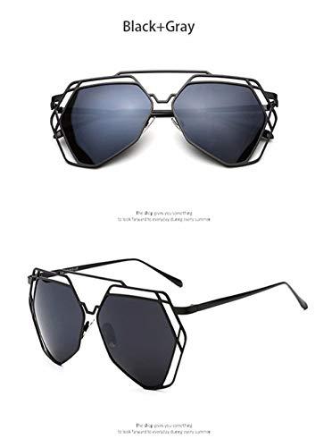 Wang-RX Frauen-Geometrie-Sonnenbrille-Art- und Weisezwillinglichtstrahlen Metallrahmen-Spiegel-Sonnenbrille Uv400