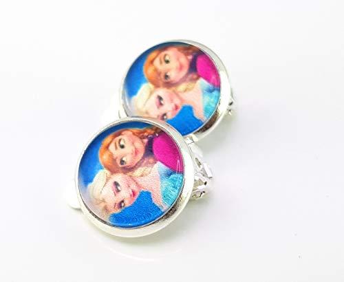 Stechschmuck Ohrclips Handmade Ohrklemmen Silberfarben Anna und Elsa Frozen Trickfilm Damen Kinder 14mm 1 Paar Nickelfrei