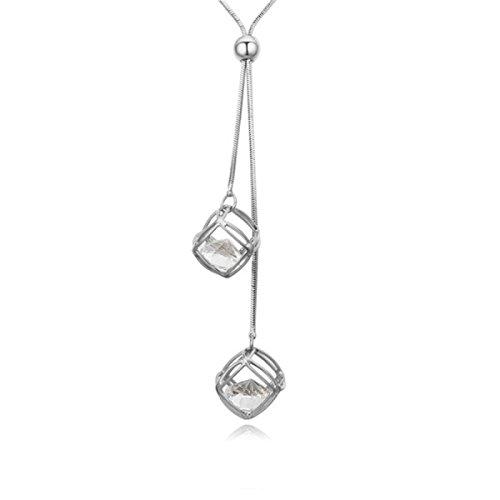 Schmuck Koreanisch (WenL Koreanische Mode Kristall Schmuck Lange Pullover Kette,Platinum)