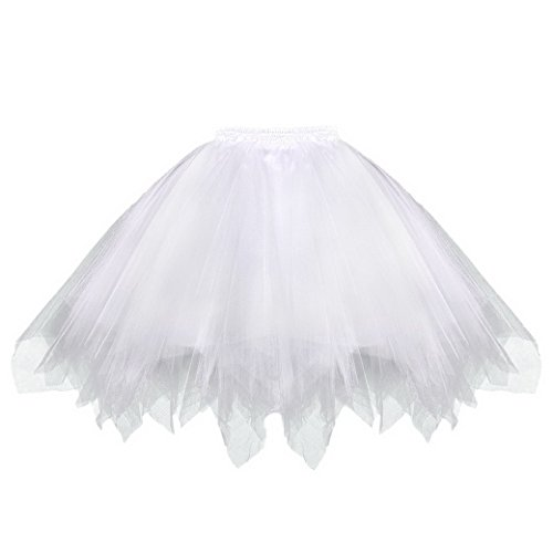 men Polyester Vintage Damenrock Tutu Cosplay Kurz Tanzkleid Party Sommer Pettiskirt Tüllrock Unterrock Minirock Winter Farlten Rock Größe XL - Weiß ()