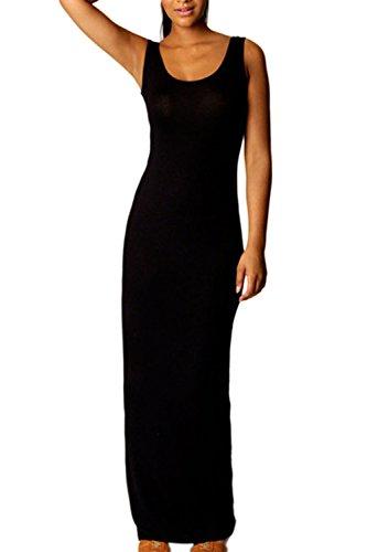 Damen Ist Sommer Maxi Lange Bodycon Strand Partei Weste Kleid Black