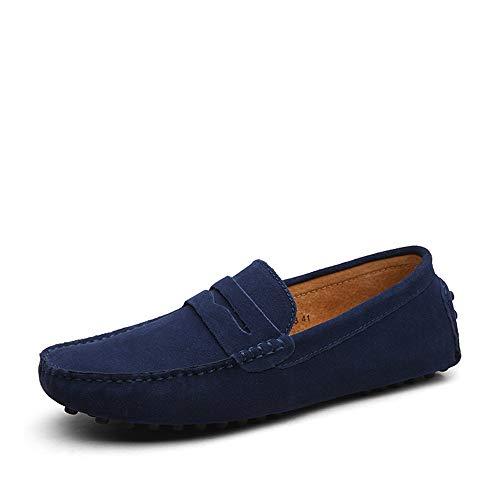 DUORO Herren Klassische Weiche Mokassin Echtes Leder Schuhe Loafers Wohnungen Fahren Halbschuhe (46,Dunkelblau) Blaue Herren Halbschuhe
