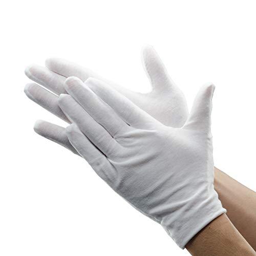 12 Paar weiße Polyester-Handschuhe, atmungsaktiv, weich, Parade-Handschuhe, formelle Smoking-Kostüme, Honor Guard Handschuhe für Münzen, Schmuck, Silberinspektion, formelle Anlässe, besondere - Parade Qualität Kostüm