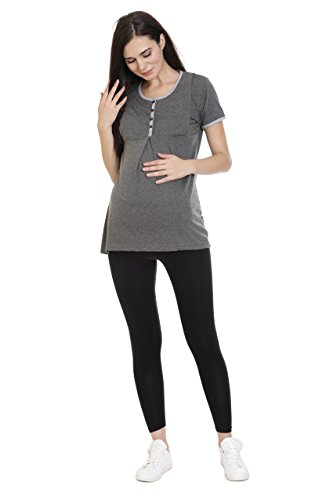 Goldstroms Women's Round Neck Maternity/Feeding/Nursing Tshirt/Top/Tee/Tunic (Medium, Charcoal Grey)