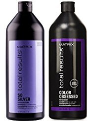 Matrix Total Results So Silver Shampoo und Color Obsessed Antioxidant Conditioner, je 1 l