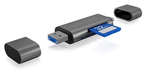 Icy Box IB-CR200-C Kartenleser-Stick mit 3 Verschiedenen USB-Anschlüssen (Type-A/Type-C/Micro-B) für SD/Micro SD Speicherkarten (SDHC/SDXC/UHS-I/MMC)