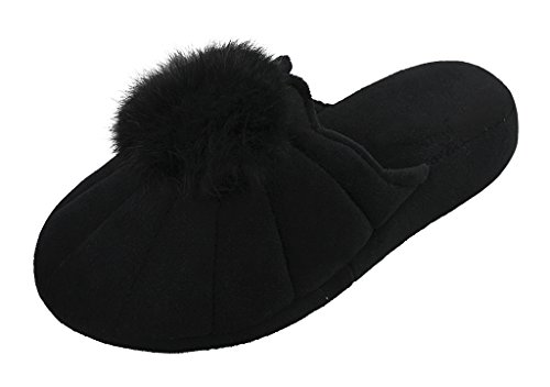 Femmes Filles Pantoufles d'intérieur Chaussons Maison Bureau Thermique Mule en Coton Peluche Souple Chaussures de Sol Epais Antidérapante Sandales Hiver Automne pour Cadeau d'Anniversaire/Noël