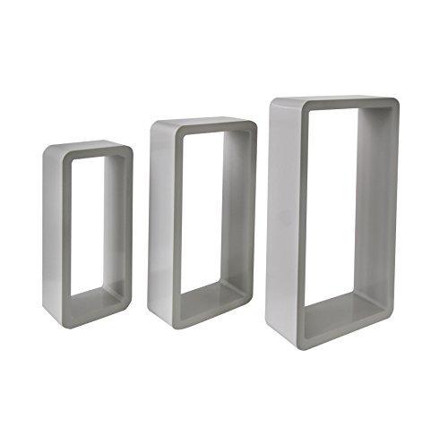 Mobili rebecca® set 3 mensole da parete rettangolari legno grigio scuro urban camera soggiorno salotto (cod. re4429)