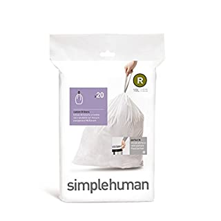 simplehuman Code R, Custom Fit Bin Liners, 20 Liners, White, 10 L